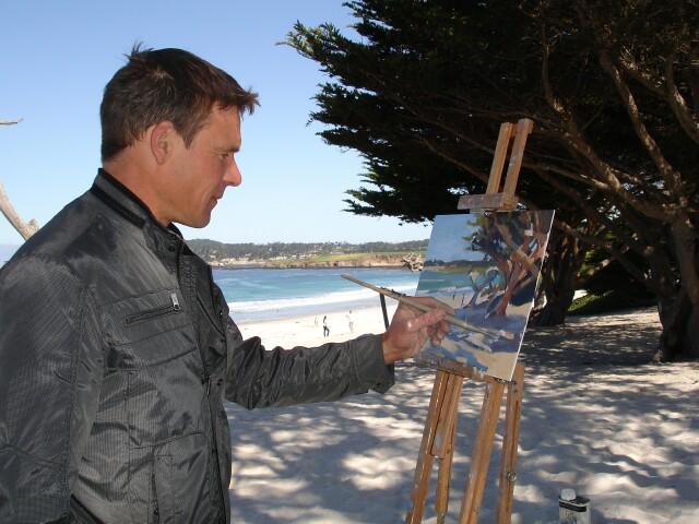 Artist painting Carmel Art Festival